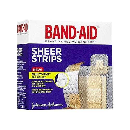 BAND-AID Sheer Strips Adhesive Bandages, All One Size 40 ea ( Pack of 5) (Band Aid Sheer Bandages)