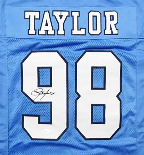 Lawrence Taylor Autographed Light Blue College Style Jersey JSA W Auth 9