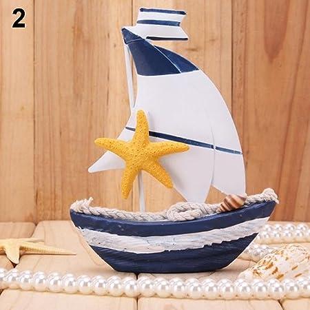 lightclub Table Dislpay Wooden Craft Nautical White Wheel Mini Sailing Boat 2