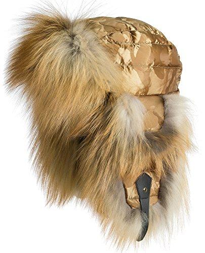 Fox Fur Trim Hat (Overland Sheepskin Co. Gold Camo Down-Filled Trapper Hat With Red Fox Fur Trim)