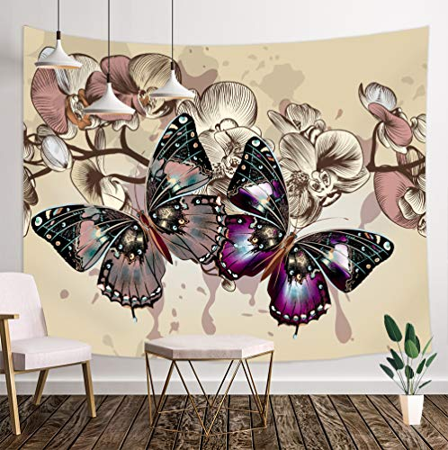 NYMB Retro Monarch Butterfly Tapestry, Butterfly on Vintage Spring Rustic Purple Wild Flowers Tapestry Wall Handing, 3D Panels Wall Tapestry for Bedroom TV Backdrop Beach Blanket Hippie 3D Print (The On Wall Butterfly)