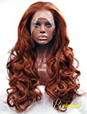 Riglamour Deep Copper Red Lace Front Wig Long Wavy Fiber Hair Synthetic Wigs for Women (#350)