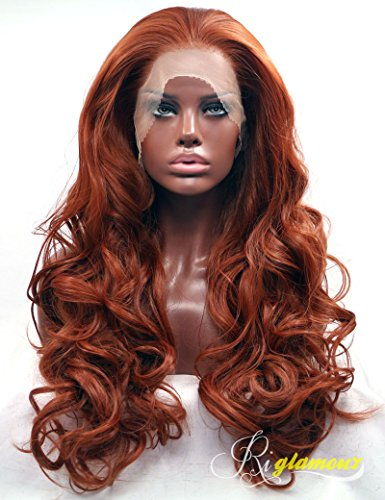 Dark Auburn Wig (Riglamour Deep Copper Red Lace Front Wig Long Wavy Fiber Hair Synthetic Wigs for Women (#350))