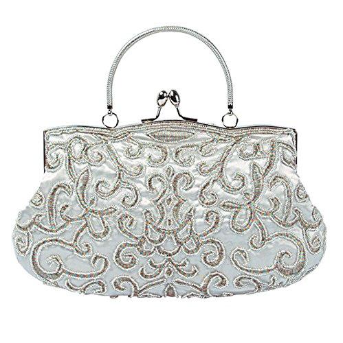 Handbag£¬ Women Evening 22cm£© NVBAO X Clutch White Retro Banquet Party Bags Beaded £¨28 Satin zUggwnxq