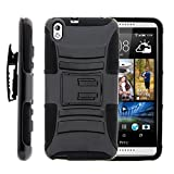 HTC Desire 816 Case, HTC Desire 816 Holster, Two Layer Hybrid Armor Hard Cover with Built in Kickstand for HTC Desire 816 (Virgin Mobile) from MINITURTLE | Includes Screen Protector - Black