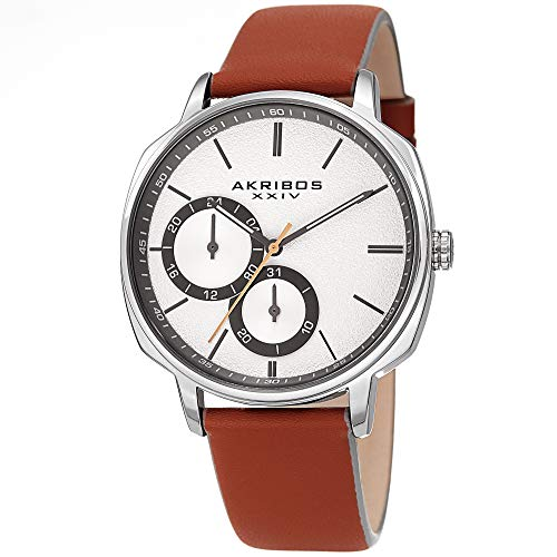Akribos XXIV Men's Watch – Tan Genuine Leather Band, Sand Blasted Grained Dial and 24 Hour and Date Recessed Sub-Dials – Quartz Movement - (Lupah Style Watch)