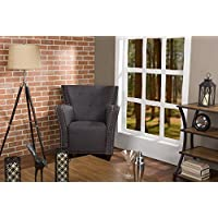 Baxton Studio Acton Wood and Linen Contemporary French Accent Chair, Dark Grey
