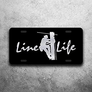 Amazon Com Line Life Lineman Electric Vanity Front License Plate Tag Kce392 Automotive