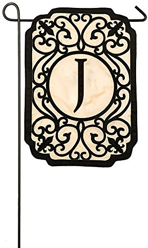 Evergreen Filigree Monogram J Applique Garden Flag, 12.5 x 1
