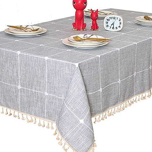 "TEWENE Tablecloth, Rectangle Table Cloth Cotton Linen Wrinkle Free Anti-Fading Checkered Tablecloths Washable Table Cover for Kitchen Dining Party (Rectangle/Oblong, 55""x86"",6-8 Seats, Grey)"