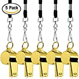 FineGood 5 Packs Stainless Steel Whistle, Loud Metal Whistle with Lanyard for Referees Coaches Lifeguards Survival Emergency Football Basketball Soccer Hockey