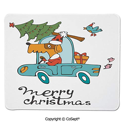 Mouse Pad,Blue Vintage Car Dog Driving with Santa Costume Cute Bird Tree and Gift Present,Dual Use Mouse pad for Office/Home (11.81