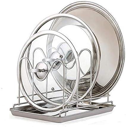 パン蓋ホルダー フリースタンドポットふたホルダー304ステンレス鋼の多機能鍋のふたシェルフボードホルダーキッチンカッティング (色 : Silver, Size : 28×20×19.5cm)