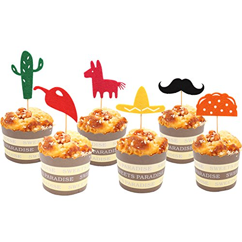 Fiesta Cupcake Toppers, Mexican Themed Cactus Donkey Taco Pepper Sombrero Mustache Party Decorations, 24 pcs for $<!--$10.99-->