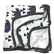 HGHG Bamboo Cotton Muslin Stroller Blanket - 4/6 Layers Muslin Cotton Blanket (Bear, Large)