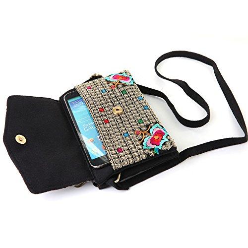 Goodhan Vintage Handmade Women Mini Crossbody Bag Cellphone Pouch Small Handbag Coin Purse
