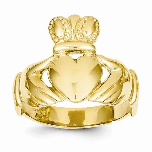 Size - 12.5 - Solid 14k Yellow Gold Men's Claddagh Ring (10 to 23 mm)