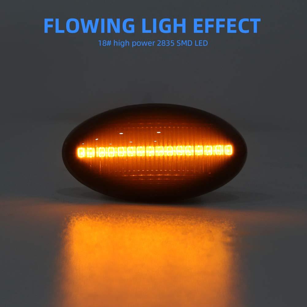 Gempro LED Seitenmarkierungsblinker Fahrtrichtungsanzeiger 1 Paar Rauchglas Bernsteinfarbe f/ür Mini Cooper R50 R52 R53 2001-2006