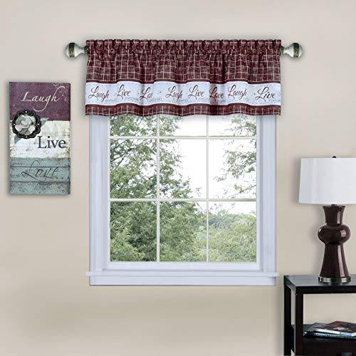 Ben & Jonah PrimeHome Collection Live, Love, Laugh Window Curtain Valance-58x14-Burgundy, Burgundy