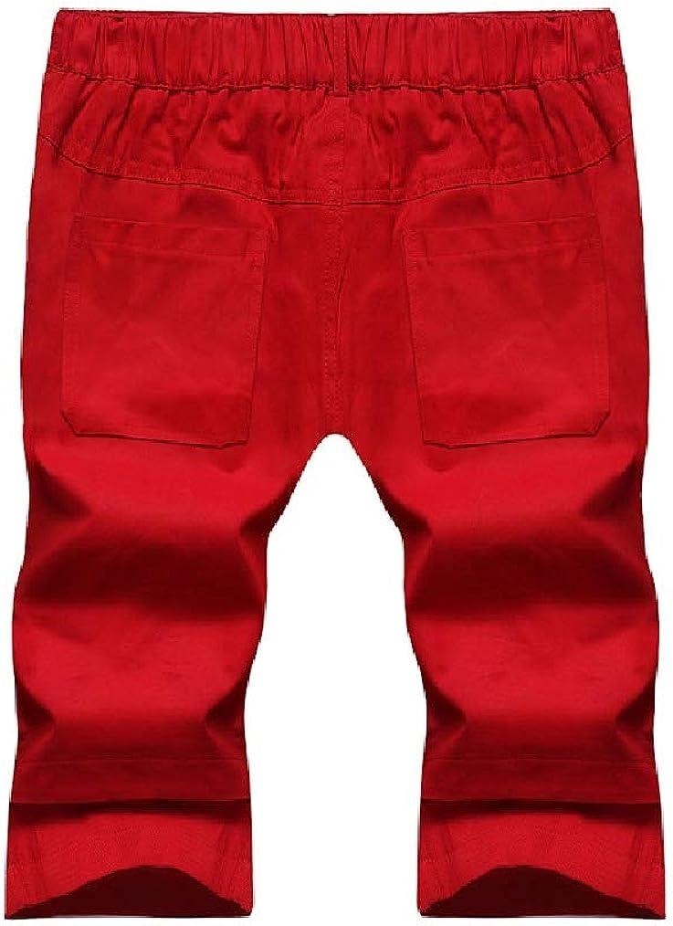 Vska Mens Leisure Mid-Rise Relaxed-Fit Splice 1//2 Length Shorts Pants
