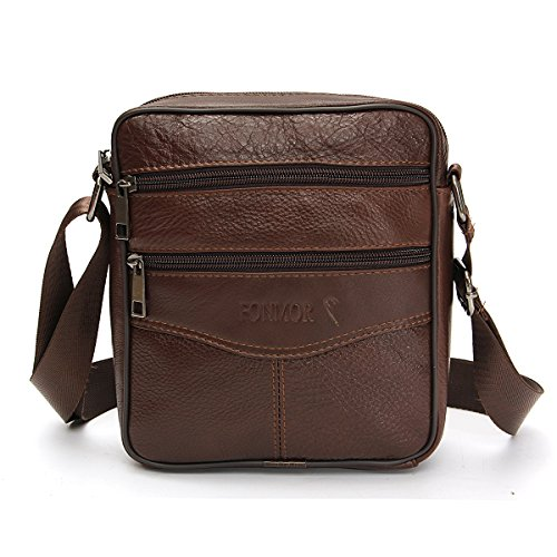 OURBAG Men Vintage Cowhide Leather Shoulder Messenger Bag Crossbody Small Satchel