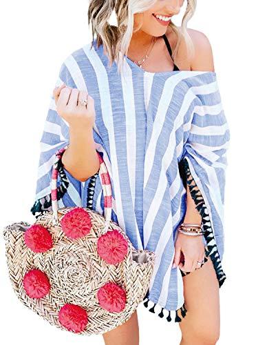 - PINKMSTYLE Womens Summer V Neck Chiffon Tassel Striped Poncho Bathing Suit Swimwear Pool Cover Ups Sky Blue One Size