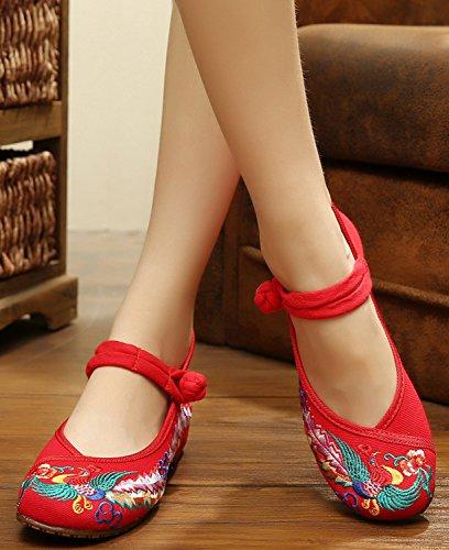 Icegrey Zapatos De Mary Jane Del Ballet Bordado Phoenix Del Dedo Del Pie Redondo De Las Mujeres Rojo