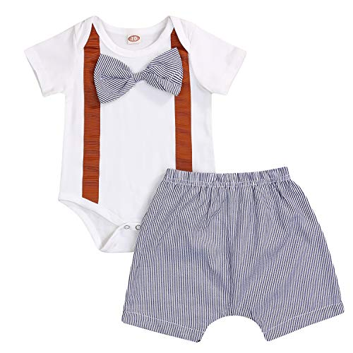 GRNSHTS Toddler Baby Boys Gentleman Outfits Short Sleeve Bow Tie Romper Bodysuit+Stripe Short Pants (Gentleman White, 0-6 Months)