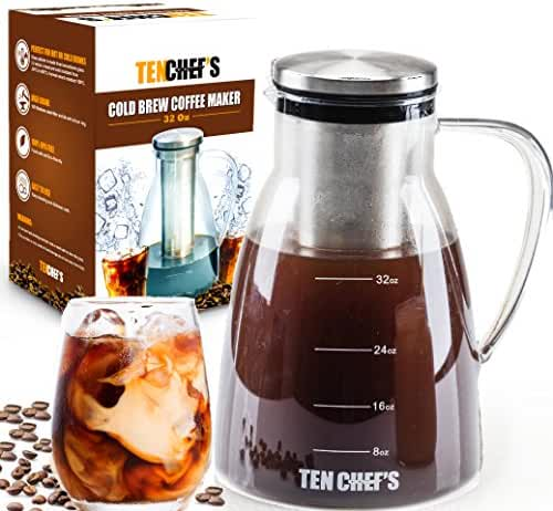 ONE DAY SALE! - Cold Brew Coffee Maker and Tea infuser, 32OZ Pitcher with lid Stainless Steel, No-Slip Base, Easy to clean and wash by Tenchefs