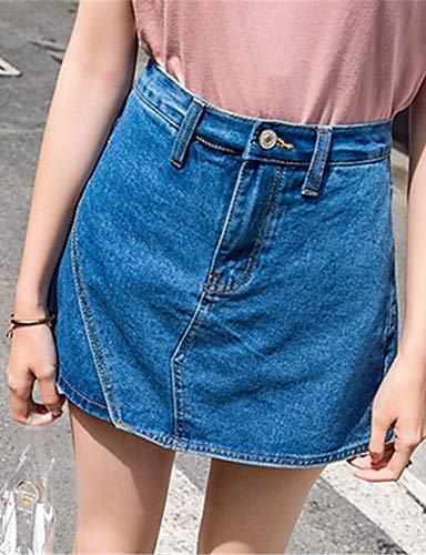 sólido Mujeres Color YFLTZ para Jeans Blue Pantalones básicos xSq6RZ