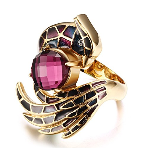 nless Steel Gold Plated CZ Crystal Phoenix Ring For Women's Rings ()