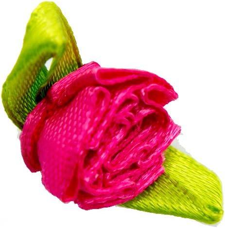 Rouge HAND Pretty Layering Tissu et Fleur de Ruban Coutures sur Les d/écoupes pour v/êtements et Accessoires Embellissement 35 mm x 15 mm Lot de 20