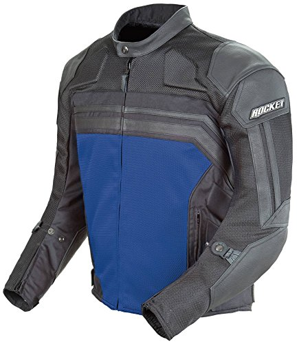 (Joe Rocket Reactor 3.0 Men's Leather On-Road Racing Motorcycle Jacket - Black/Blue / X-Large )