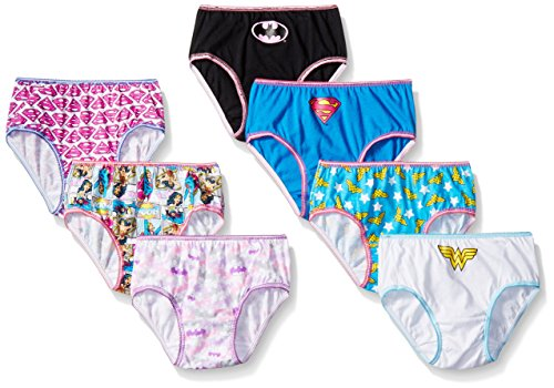 DC Comics Girls' Little Justice League Logo 7 Pack Panty, Assorted, 4