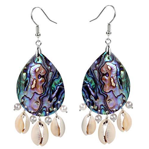 925 Sterling Silver Hook Sea Abalone Shell Cowrie Shell Freshwater Pearl Long Teardrop Dangle Handmade Earrings For Women Teen Girl