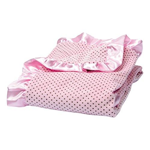 Pink Velour Receiving Blanket - Trend Lab Rose Pink Delightful Dot Velour and Satin Receiving Blanket