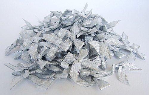 Embellishments Silver Bookmark (100 Silver Ribbon Bows Artificial Decor Wedding Card Scrapbook Souvenir Gift Diy)
