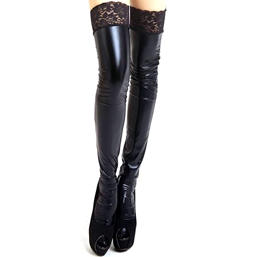 fbe0f10035c474 Froomer Women's Wet Look PU Leather Lace Stay-Up Thigh High ...