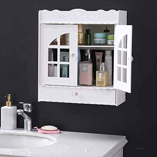 Amazon Com Frithjill Pvc Hanging Cabinet Wall Cabinets With Doors And Shelves Over The Toilet White Kitchen Dining