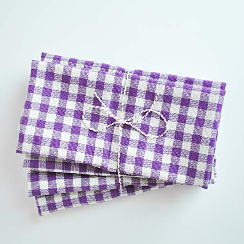Sigrid & Co. Set of 4 Gingham Check Cotton Dinner Napkins in Purple - Lilac, NYC Designer, Handcrafted in Mexico (18x18 ()