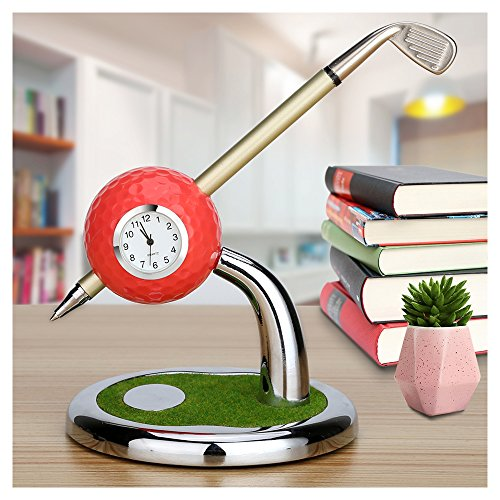 2 Golf Balls Set (Mini Desktop Golf Ball Pen Stand with Golf Pens and Clock 2-piece Set of Golf Souvenir Tour Souvenir Novelty Gift(red))