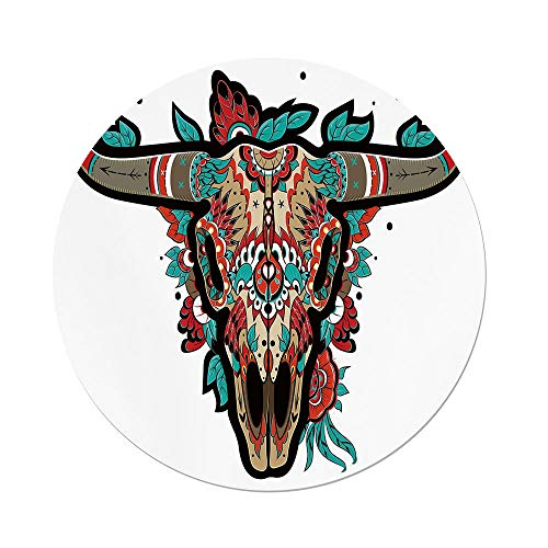Buffalo Glass Table Lamp - Polyester Round Tablecloth,Western,Buffalo Sugar Mexican Skull Colorful Ornate Design Horned Animal Trophy Decorative,Turquoise Red Taupe,Dining Room Kitchen Picnic Table Cloth Cover,for Outdoor Indo