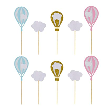 Hzonline White Cloud Hot Air Balloon Cupcake Toppers Kid Boy Girl Birthday Decorations Diy Home Wedding Theme Party Food Cake Picks For Baby Shower