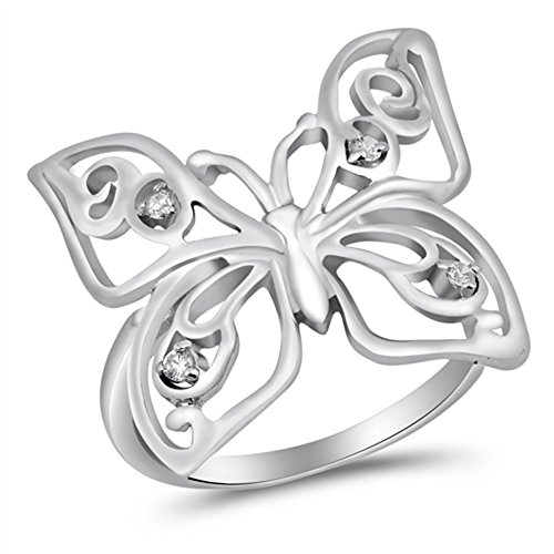 Clear CZ Butterfly Cutout Unique Ring New .925 Sterling Silver Band Size 10 Cut Out Butterfly Ring