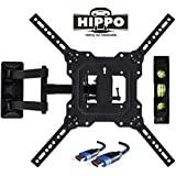 "HIPPO TV Wall Mount Bracket with Full Motion Swing Out Tilt for Most 32"" 39"" 40"" 42"" 43"" 45"" 48"" 49"" 50"" 55"" LED LCD OLED Plasma Flat Screen Monitor Up to 88 Lbs VESA 400x400mm 6.5 ft HDMI Cable"