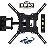 Hippo TV Wall Mount Bracket Full Motion Swing Out Tilt Most 32'' 39'' 40'' 42'' 43'' 45'' 48'' 49'' 50'' 55'' LED LCD OLED Plasma Flat Screen Monitor up to 88 lbs VESA 400x400mm 6.5 ft HDMI Cable