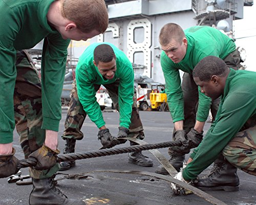 Pendant Nim - Home Comforts Laminated Poster Arresting Gear Crew Changes a Leaf Spring Under a Cross Deck Pendant Aboard Aircraft Carrier USS Nim Vivid Imagery Poster Print 24 x 36