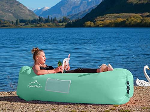 51Ynumi3h2S AlphaBeing Aufblasbare Liege - Beste Luftliege für Reisen, Camping, Wandern - Ideale aufblasbare Couch für Pool und…