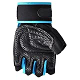 BUYEONLINE Weight Lifting Gloves - Weight Lifting Gloves Gym Workout Wrist Wrap Sports Exercise Training Fitness Blue+Black M
