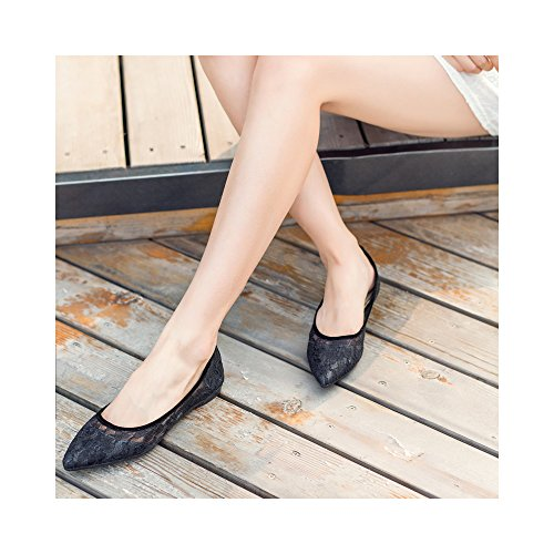 Flat on Slip Crochet Shoe Lace Point Toe Mesh Women's Black Ballet aCqxR8OWwt